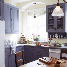 Love the gray cabinets