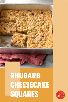 It's rhubarb season, so now's the time to try this rich and tangy cheese bar. It's bound to be a hit with the rhubarb lovers you know. —Sharon Schmidt, Mandan, North Dakota Cupcake Cookies, Cupcakes, Cheese Bar, Cheesecake Squares, Cinnamon Cream Cheeses, Bar Recipes, Vegetarian Cheese, North Dakota, Dessert Bars