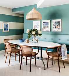 Drizzle -sherwin williams- dining room in this beach house. Creating architecture with colour.