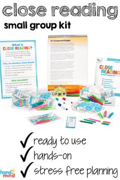 Close Reading develops critical, analytical readers through an interactive, close reading experience in a small group setting! Literacy Stations, Literacy Skills, Literacy Centers, Small Group Reading, Student Reading, Guided Reading, Spelling Activities, Writing Activities, Writing Ideas