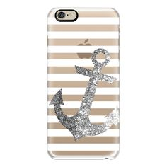iPhone 6 Plus/6/5/5s/5c Case - GLITTER ANCHOR IN SILVER - CRYSTAL... ($40) ❤ liked on Polyvore