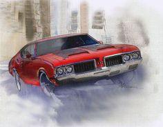 "Saatchi Online Artist: Fred Otene; Painting 2013 New Media ""1970 Oldsmobile 442"""