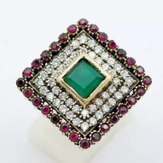Turkish Emerald Ruby Topaz Sterling Silver High Quality Turkish Emerald Ruby Topaz 925K Sterling Silver Ring Size 8/CJ-M8704 Jewelry Rings