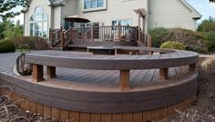 Custom Curve Trex Deck and Benches McHenry County built by Rock Solid Builders, Inc. Curved Bench, Built In Bench, Outdoor Living, Outdoor Decor, Outdoor Spaces, Vintage Lanterns, Deck Builders, Custom Decks, Decks And Porches