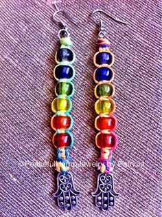 Rainbow Colored Hemp and Glass Crow Beads by PeacefulHempJewelry $7.00
