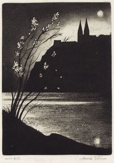 """Pavel Šimon: """"Vyšehrad at Night. Prague"""".  Aquatint. 18,5 x 13,5 cm."""