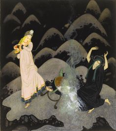 Illustration from the tale of The Fire Bird by Edmund Dulac, 1915. Ink and watercolour. It is the final illustration in Edmund Dulac's Fairy-Book published by Hodder and Stoughton, 1916, which includes 15 colour plates