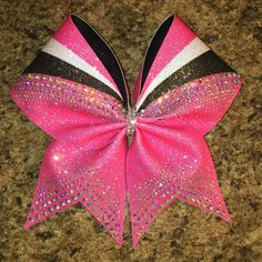 Rhinestone Cheer Bow, dyed glitter, sublimated, any color combination Pink Cheer Bows, Cute Cheer Bows, Cheer Hair Bows, Cheer Mom, Big Bows, Cheer Stuff, Cheerleading Jumps, Cheerleading Photos, Volleyball Drills