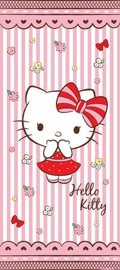 Fotomural Hello Kitty FTV 1529, fotomural de puerta con imagen de la Hello Kitty vestida con un coqueto vestido y lazo rojo, acompañada por un fondo de rayas rosa.