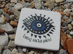 Evil Eye Marble Coaster or Magnet Eye Symbol, Greek Culture, Marble Coasters, Evil Eye, Cool Eyes, Making Out, Star, Studio, Studios