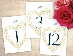 Geometric Gold Heart Printable Table Numbers design No. 220 - personalized table numbers for wedding, bridal shower, baby shower DIY