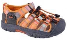 Bugga Dětské pruhované sandály - oranžové