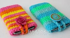 DIY Free Pattern and YouTube Video Tutorial Crochet Cell Phone Smartphone Case Holder (works for iPhone Android Samsung LG Blackberry) by Donna Wolfe from Naztazia