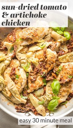 This flavorful Chicken with Sun-Dried Tomatoes and Artichokes is a one-skillet, 30-minute dinner you'll love, with an irresistible silky cream sauce. Chicken Flavors, Chicken Recipes, Easy Family Meals, Family Recipes, Lemon Thyme Chicken, Easy Skillet Meals, 30 Minute Dinners, Artichoke Chicken, Chicken With Olives