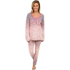 BedHead Stretch Snap Tape Henley PJ Women's Pajama Sets, Pink featuring polyvore, fashion, clothing, intimates, sleepwear, pajamas, pink, pink pajamas, long sleeve pajamas, pink pjs, pink sleepwear and long sleeve sleepwear