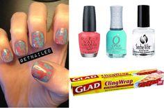Saran wrap nails tutorial