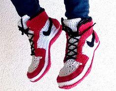 Crochet PATTERN. Air Jordans style slippers Adult sizes.