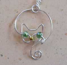 Delicate Silver Wire Cat Pendant Necklace-maybe add hammered texture for an interesting variation.