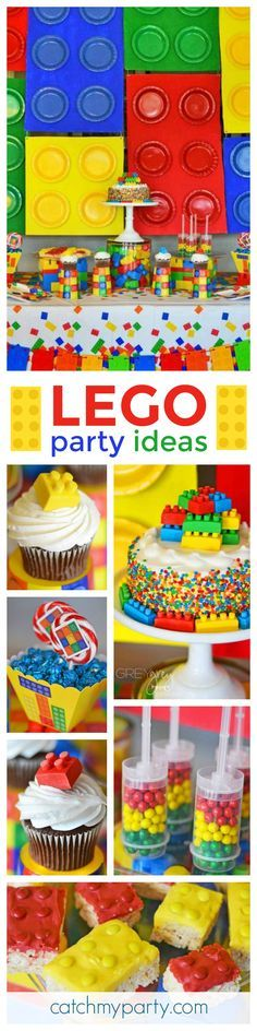 Such an awesome bright and colorful Lego Birthday Party! The cupcakes are so cute! See more party ideas at CatchMyParty.com