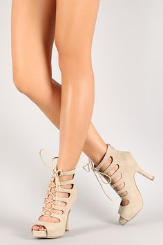 Nubuck Cage Lace Up Peep Toe Ankle Bootie