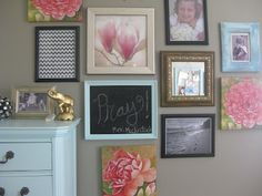 Gallery wall with chalkboard