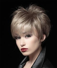 Short Pixie Hairstyle - Straight Formal - Light Brunette | TheHairStyler.com