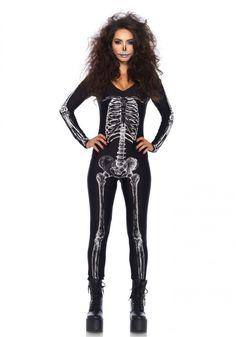 SKELETON GLAM Halloween Costume Full Body Skeleton Adult Skeleton Catsuit Skeleton Jumpsuit Black Catsuit Halloween Costumes Outfit | Skeleton ...  sc 1 st  Pinterest & SKELETON GLAM Halloween Costume Full Body Skeleton Adult Skeleton ...