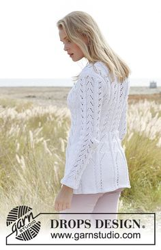 Ravelry: Rosalinde - Fitted jacket with lace pattern and cables in Muskat pattern by DROPS design Knitting Machine Patterns, Knitting Kits, Sweater Knitting Patterns, Lace Knitting, Knit Patterns, Drops Design, Magazine Drops, Knit Jacket, Knit Or Crochet