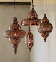 Antique Copper Moroccan Hanging Lamp. $198 by VivaTerra