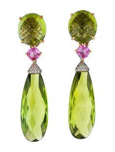 Paolo Costagli Peridot and Pink Sapphire Drop Earrings