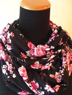 Black Pink Roses Floral Infinity Scarf-  FREE SHIPPING, jersey knit,black, flowers, scarf, winter, fall, Christmas