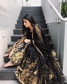 Black and gold 🖤💛 Indian Wedding Outfits, Wedding Dress, Indian Outfits, Desi Wedding, Pakistani Bridal Dresses, Pakistani Outfits, Indian Dresses, India Fashion, Asian Fashion