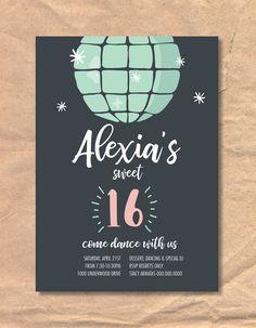 Printable Disco Ball Sweet Sixteen Birthday Invitation by FrellaDesigns on Etsy