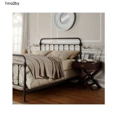 bed frame antique vintage style queen size iron headboard bedroom bronze metal - Queen Size Iron Bed Frame