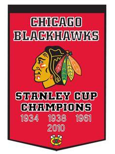 "Chicago Blackhawks Stanley Cup Champions Wool 24"" x 38"" Dynasty Banner by Winning Streak $79.95"