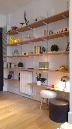 Cache compteur Bibliothèque sur crémaillère Bibliothèque en bois - étagères en bois