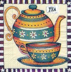 Laminas para decoupage | Aprender manualidades es facilisimo.com Fabric Painting, Painting On Wood, Tee Kunst, Pallette, Photo Pattern, Tea Pot Set, Tea Art, My Tea, Paint Shop