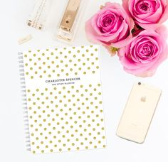Personalised Study Planner Notebook  Gold by LetterLoveDesigns