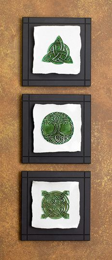 Celtic Ceramic Tile: Essential Celtic designs - a trinity knot, knotwork tree of life or four-pointed Quaternary eternal knot.