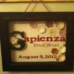 Bridal shower gift!  Love this with the names and the wedding date