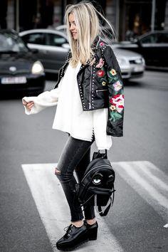 Blog mode // Veste brodée en simili et jeans déchiré