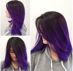 hair inspiration mid length The Top 10 Best Colors For Mid-Length Hair: Inspire You Hair Color Purple, Cool Hair Color, Ombre Purple Hair, Purple Balayage, Ombré Hair, New Hair, Hair Dye, Violet Hair, Mid Length Hair