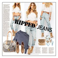 """""""Style This Trend: Ripped Jeans"""" by betiboop8 ❤ liked on Polyvore featuring Denim & Supply by Ralph Lauren, Hermès, Accessorize, Louis Vuitton, H&M and rippedjeans"""