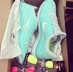 Turquoise Nike Free Run Shoes