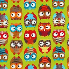 Bright Owls in Lime $8.75 a yard.  I'm using this for an accent fabric in the nursery.