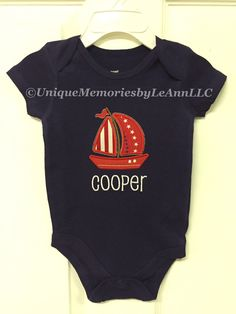 Personalized Sailboat embroidered applique onesie or t-shirt with FREE name or monogram - Nautical - Sailboat - Infants/toddler by UniqueMemoriesLeAnn on Etsy