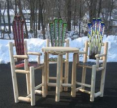 SkiChair Log Bistro Set by SkiChair. $939.99. Handmade Log Bistro Set made of sturdy 1'' Easter White Canadian Cedar Extremely Comfortable Naturally resistant to rot and insect damage Chair does not have to be treated if left outside, and will weather to a Silvery Grey Patina color Ships Partially Assembled, Some Assembly Required. Patina Color, Bistro Set, Patio Furniture Sets, Ships, Easter, Chair, Grey, Handmade, Accessories