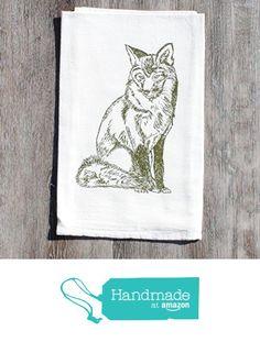 Kitchen Dish Towel Flour Sack Cotton Hand Screen Printed Olive Green Fox from Heaps Handworks http://www.amazon.com/dp/B01756E7P0/ref=hnd_sw_r_pi_dp_YEIpwb176N2SR #handmadeatamazon