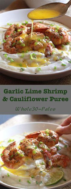 Garlic Lime Shrimp and Cauliflower Puree (Paleo) - The Paleo Paparazzi Seafood Recipes, Paleo Recipes, Dinner Recipes, Cooking Recipes, Paleo Dinner, Budget Cooking, Budget Recipes, Ham Recipes, Juice Recipes