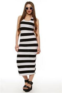 Backless Striped Midi Φόρεμα - ΡΟΥΧΑ -> Φορέματα | Made of Grace